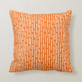 Broken Lines - White on Orange Cushion