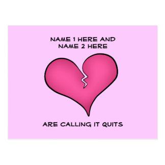 Broken pink heart breaking up postcard