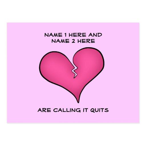 Broken pink heart breaking up postcards