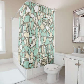 BROKEN POP mint Shower Curtain
