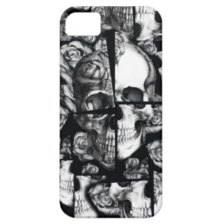 Broken up, fractured images of rose skull in black barely there iPhone 5 case
