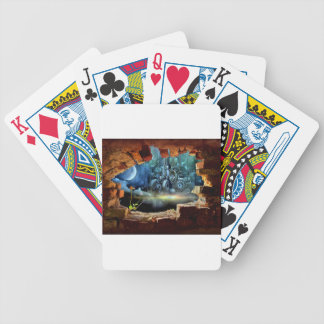 Broken wall view bicycle playing cards
