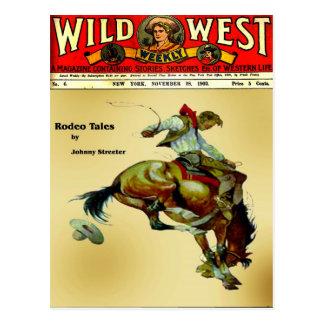 """Bronc Rider""  Cowboy Western Rodeo Postcard"