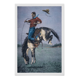 Bronco-Buster (coloured engraving) Poster