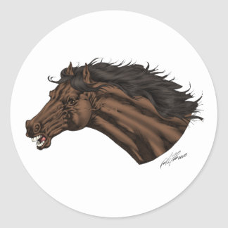 Broncos, Mustangs Horse's Head Logo art by Al Rio Classic Round Sticker