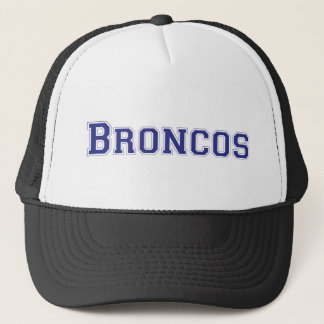 Broncos square logo in blue trucker hat