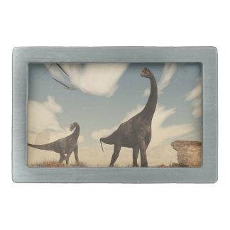Brontomerus dinosaurs in the desert - 3D render Belt Buckle
