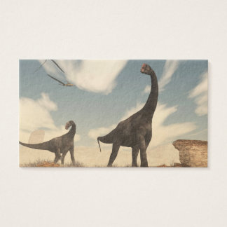 Brontomerus dinosaurs in the desert - 3D render Business Card