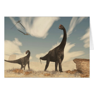 Brontomerus dinosaurs in the desert - 3D render Card