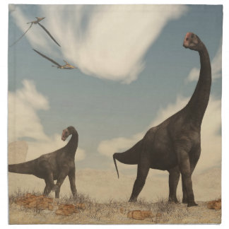 Brontomerus dinosaurs in the desert - 3D render Napkin