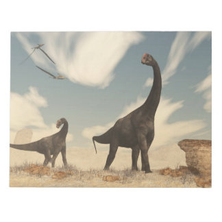 Brontomerus dinosaurs in the desert - 3D render Notepad