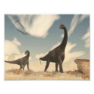 Brontomerus dinosaurs in the desert - 3D render Photo Print