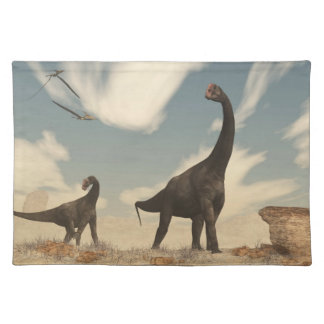 Brontomerus dinosaurs in the desert - 3D render Placemat