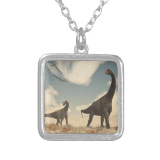 Brontomerus dinosaurs in the desert - 3D render Silver Plated Necklace