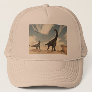 Brontomerus dinosaurs in the desert - 3D render Trucker Hat