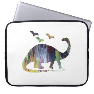 Brontosaurus and bats laptop sleeve