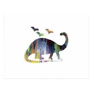Brontosaurus and bats postcard
