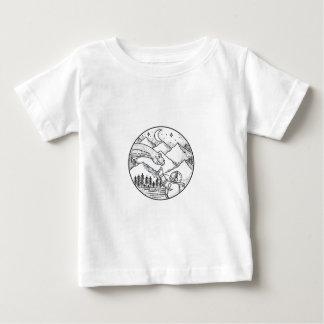 Brontosaurus Astronaut Mountain Circle Tattoo Baby T-Shirt