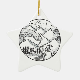 Brontosaurus Astronaut Mountain Circle Tattoo Ceramic Ornament