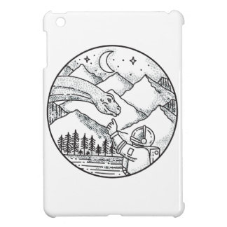 Brontosaurus Astronaut Mountain Circle Tattoo iPad Mini Cover