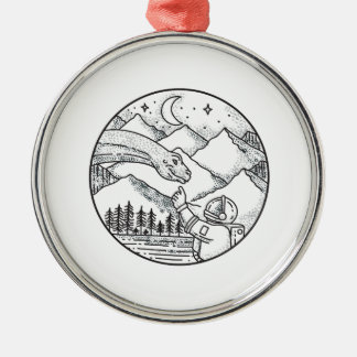 Brontosaurus Astronaut Mountain Circle Tattoo Metal Ornament