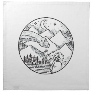 Brontosaurus Astronaut Mountain Circle Tattoo Napkin
