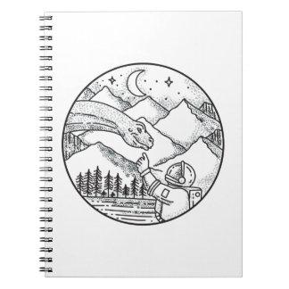 Brontosaurus Astronaut Mountain Circle Tattoo Notebooks