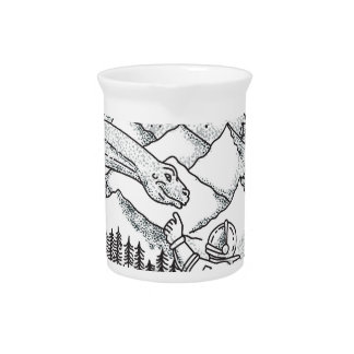 Brontosaurus Astronaut Mountain Circle Tattoo Pitcher
