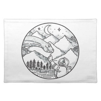 Brontosaurus Astronaut Mountain Circle Tattoo Placemat