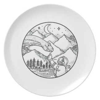Brontosaurus Astronaut Mountain Circle Tattoo Plate
