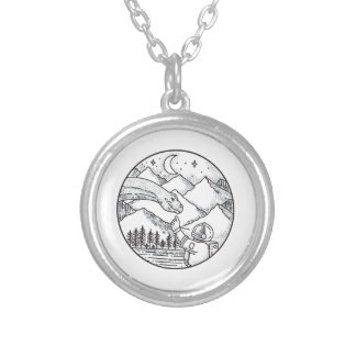 Brontosaurus Astronaut Mountain Circle Tattoo Silver Plated Necklace