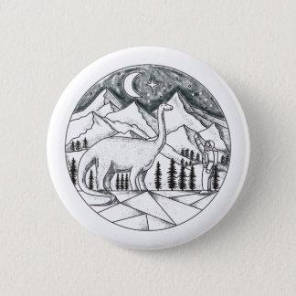 Brontosaurus Astronaut Mountains Tattoo 6 Cm Round Badge