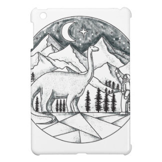 Brontosaurus Astronaut Mountains Tattoo iPad Mini Cover