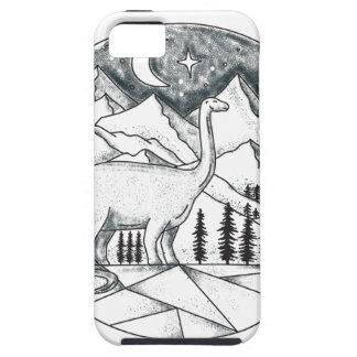 Brontosaurus Astronaut Mountains Tattoo iPhone 5 Case