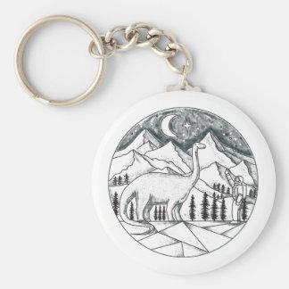 Brontosaurus Astronaut Mountains Tattoo Key Ring