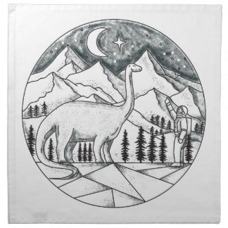 Brontosaurus Astronaut Mountains Tattoo Napkin