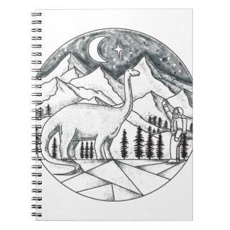 Brontosaurus Astronaut Mountains Tattoo Notebook