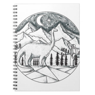 Brontosaurus Astronaut Mountains Tattoo Notebooks