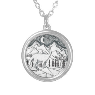 Brontosaurus Astronaut Mountains Tattoo Silver Plated Necklace