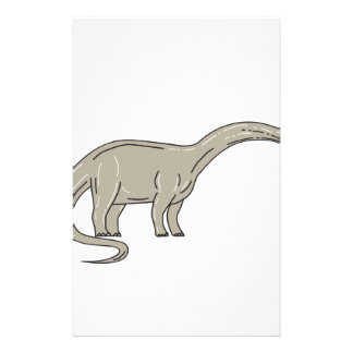 Brontosaurus Dinosaur Looking Down Mono Line Custom Stationery