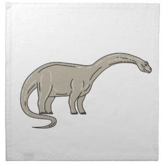 Brontosaurus Dinosaur Looking Down Mono Line Napkin