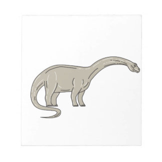 Brontosaurus Dinosaur Looking Down Mono Line Notepad