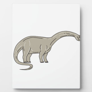 Brontosaurus Dinosaur Looking Down Mono Line Plaque