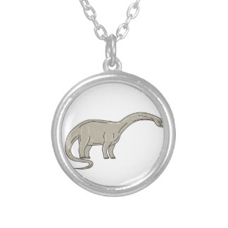 Brontosaurus Dinosaur Looking Down Mono Line Silver Plated Necklace