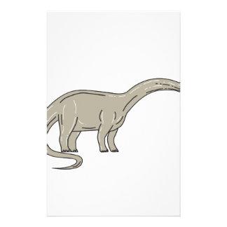 Brontosaurus Dinosaur Looking Down Mono Line Stationery