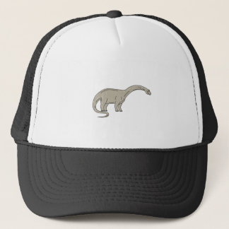 Brontosaurus Dinosaur Looking Down Mono Line Trucker Hat