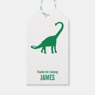 Brontosaurus Dinosaur Silhouette Birthday Gift Tag
