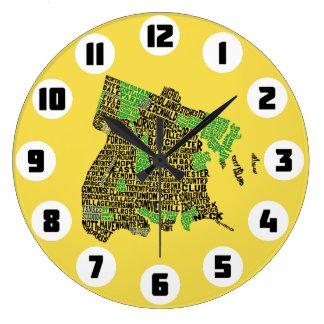 Bronx New York City Typography Map Clock