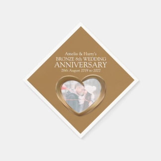 Bronze 8th anniversary heart photo names napkins disposable serviette
