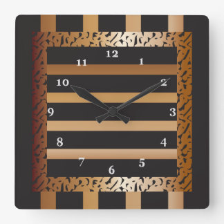 Bronze and Black Striped Leopard Print Square Wall Clock